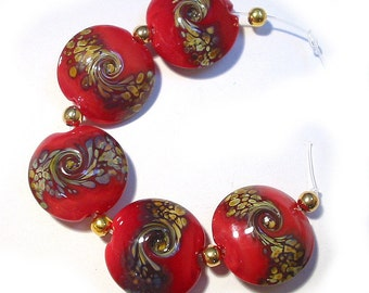 Red Raku Lentils, SRA Handmade Glass Lampwork Beads