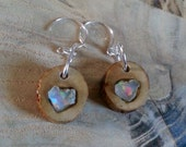 Opal inlay Earwires Earrings welo opal sterling silver cherry wood