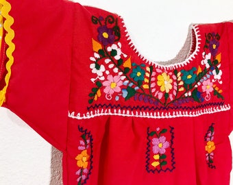 Toddler Mexican Dress Red Yellow Rickrack - Size 12 months - Baby Embroidered Fiesta Outfit
