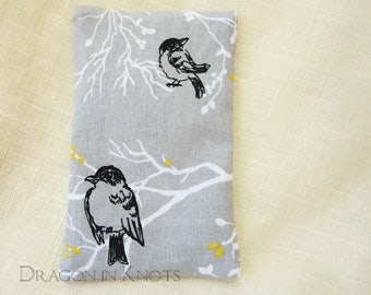 Bird Travel Tissue Holder - Fabric Tissue Packet Cover, Light Grey Purse Accessory, Bird in a Tree Pocket Tissue Case - Yellow, White, Black
