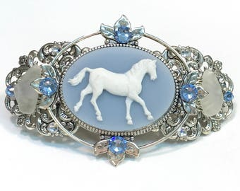 Hair Barrette Horse Cameo with Beach Glass and Crystal Accents