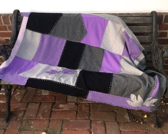 WITCHING HOURS  cashmere blanket . cashmere quilt . repurposed cashmere sweaters . healing blanket . cancer patient blanket