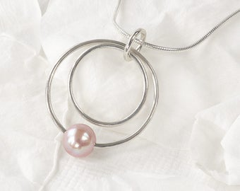 Pearl Circle Pendant in Eco Sterling Silver
