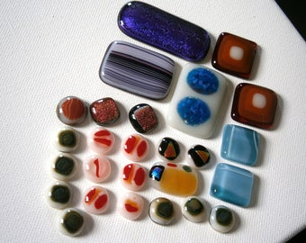 Fused Glass Cabochons, Oops Lot Glass Cabs, Sale, Willow Glass
