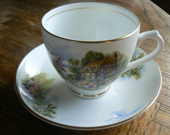Vintage Duchess Teacup & Saucer with beautiful country scene in perfect condition
