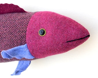 Magenta and Purple wool fish pillow doll