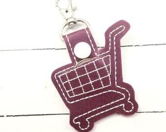 Quarter Keeper Keyring - shopping cart deposit quarter keyfob - clip on quarter minder - backpack design quarter holder for keychain