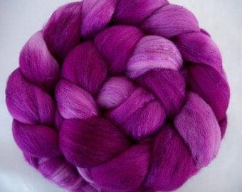 Merino silk roving, handpainted roving, spinning fiber, felting wool, roving for felting, needle felting wool, purple roving, 3.5oz, Lot A