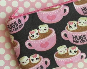 Cute zipper pouch - small change purse - pink wallet - hot cocoa - small zip pouch - gray bag - kawaii zipper pouch - under 10 - CLEARANCE