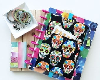 Sugar skulls planner cover bag - pocket planner pouch - skull planner cover - day of the dead - colorful - planner accessory - tassel charm