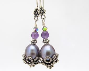 Sterling Silver Earrings Freshwater Peacock Pearls, Amethyst Gemstone and Crystals, Dangle Drop Ornate, February and June Birthstones
