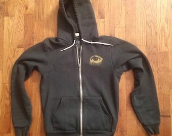 Eye Hoodie, green hoodie, golden eye,  screenprinted hoodies, for her, zip hoodies, forest zip hoodiie  - size unisex S-XXL