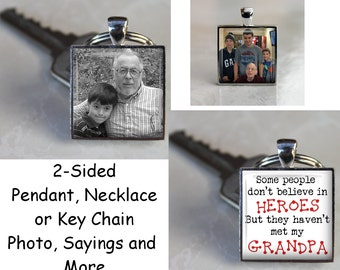 NEW - Custom Double Sided Square Pendant, Necklace or Key Chain - Choice of two photos or several different sayings