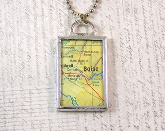 Boise Idaho Map Pendant Necklace