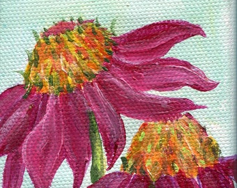 Coneflowers mini canvas art, Echinacea Original mini acrylic painting on canvas, mini easel, Coneflowers ART SharonFosterArtSharonFosterArt