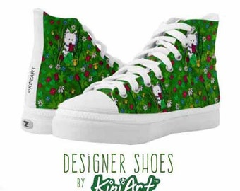 KiniArt Flower Garden Westie Zipz High Top Shoes Sneakers