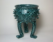 Ceramic Plant Pot - Ceramic planter - Succulent planter - Grouchy Pot -  Turquoise and Black Planter Pot with Sculpted Feet and Spikes