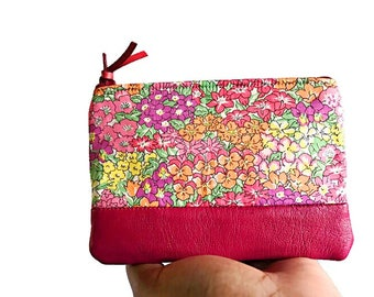 Floral Pink Leather Pouch, Coin Purse, Zipper Pouch, Small Wallet, Change Purse, Coin Pouch