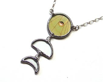 Real Luna Moth Moon Phases Necklace - Moon child Jewelry with Dangling Crescent Moon