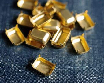 14x10mm Octagon NO Loop Brass Rhinestone Prong Settings - 18pcs - Raw Brass Prong Setting 14x10 Rectangle Octagon Glass Jewel Frame