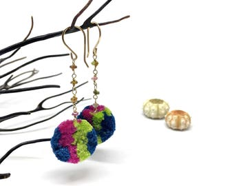 Small colorful pink and green and blue Pom Pom Earrings