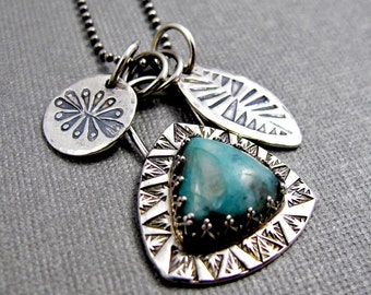 Larimar Necklace with Stamped Charms - Sterling Silver Necklace - Tribal Boho - Story Necklace - Southwest
