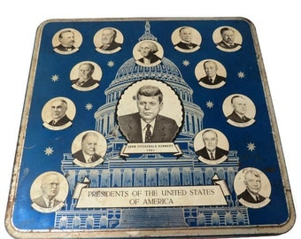 Vintage Presidents Tin, Mid Century John F. Kennedy, Murray Allen Confections Tin, Vintage Storage, Patriotic Presidential Collectible