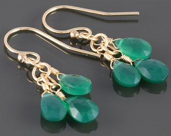 Green Onyx Cluster Earrings. 3 Stones. Gold Filled Ear Wires. Genuine Gemstone. f16e237