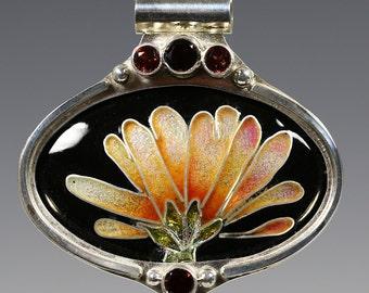 Flower Cloisonné Enamel Pendant. One of a Kind. Garnet Accent Stones. Sterling Silver Necklace. Art Nouveau Inspired. f16p004