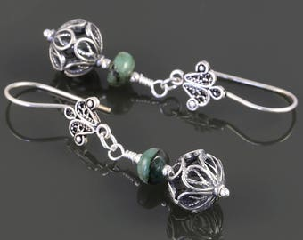 Genuine Emerald Earrings. Sterling Silver. Turkish Filigree. May Birthstone. Drop Earrings. s17e063
