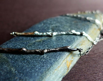 Sterling Silver Twig Necklace, Textured Woodland Winter Branch Cast Sterling Silver Natural Twig Necklace