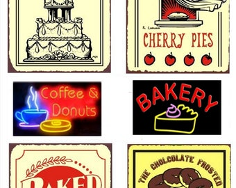 Retro Bakery Signs No. 2 - Digital Collage Sheet - Instant Download