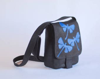 Small linen messenger bag with dragonflies
