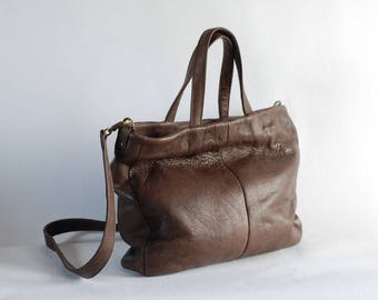 Brown leather handbag, shoulder bag