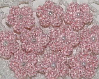 Tiny Crochet Flower Applique Embellishment Trims - BLUSH PINK - 10 Pcs