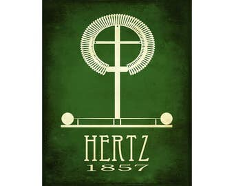 Hertz Science Art 11x14 Print - Rock Star Scientist Poster, Steampunk History School Decor, Classroom Artwork, Physics and Engineering Gift