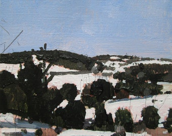 To Tommy's Hill, Original Winter Landscape Painting on Paper, Stooshinoff