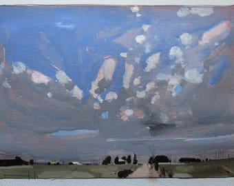 Over 10, Original Spring Landscape Painting on Paper, Stooshinoff