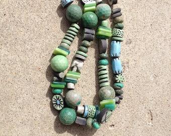 raku beads, kiln fired, tumbled glass beads, chrysoprase beads, mixed colors