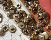 Vintage gold plated buttons,Small buttons,Self shank button,Made in USA,Emsig Manufacturing Co.,Lot of 35,Shiny gold button