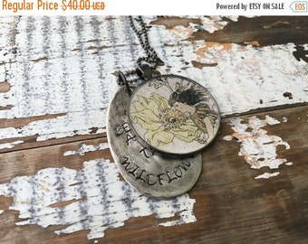 40% OFF- Spoon Necklace-She Belongs Among the Wildflowers-Resin Bezel-Stamped Jewelry-