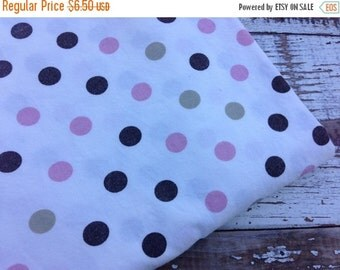 SALE- Polka Dot Fabric-Pink and Brown-Reclaimed bed Linens