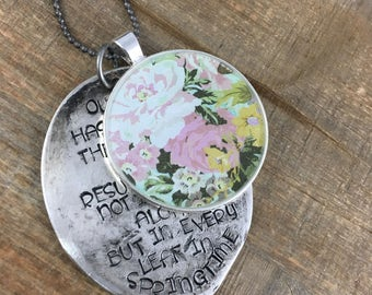 Stamped Spoon Necklace-Stamped Jewelry-Floral Resin Bezel-Martin Luther Quote