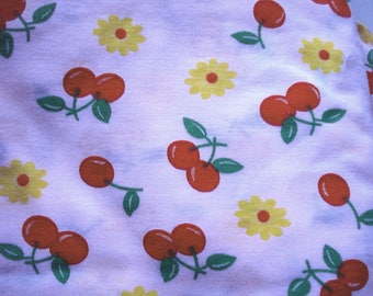 Cherries and Flowers Print Cotton Knit One Yard Piece
