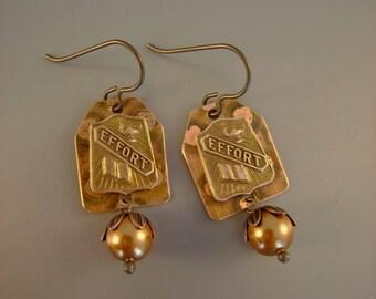"E is for Effort - 1930s ""Effort"" Copper School Pins Swarovski Copper Pearls Niobium Hypoallergenic Recycled Earrings"