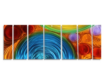Extra Large Abstract Metal Wall Art In Red, Blue & Orange, Contemporary Wall Sculpture, Modern Home Decor - Simple Elation XL by Jon Allen