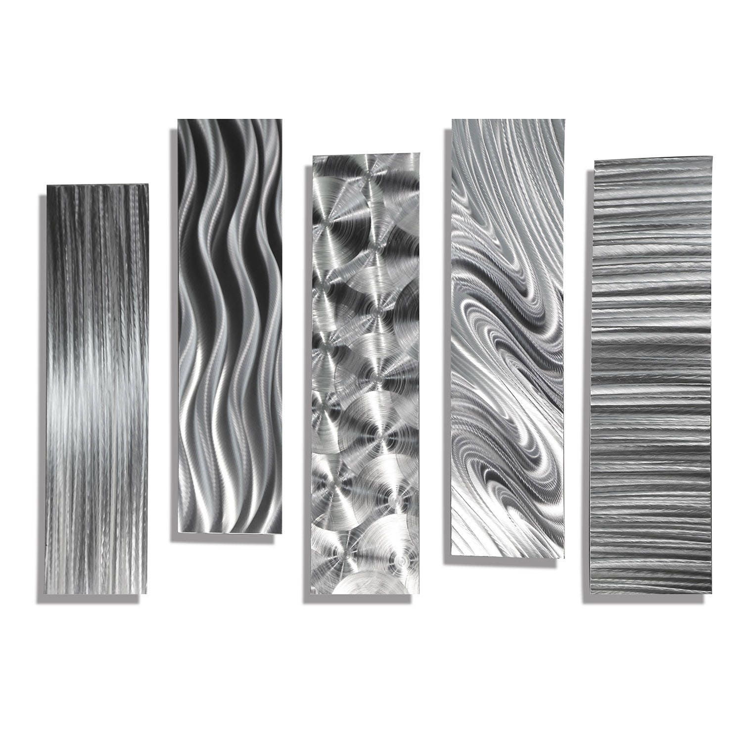 SALE Silver Metal Abstract Modern Wall Art Sculpture 5 Easy