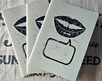 Just Say It! - Hand Printed A5 Notebook