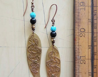 Earrings. Long drops with vintage brass components. Long earrings.