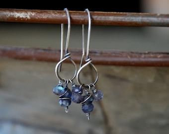 Frolic Earrings - Handmade. Labradorite (spectrolite). Oxidized Sterling Silver